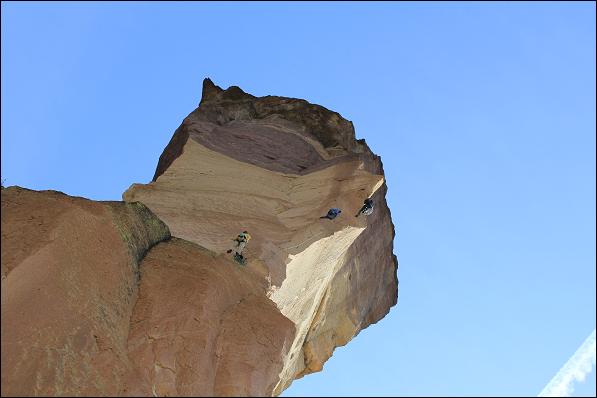 Climbers ascending Monkey Face